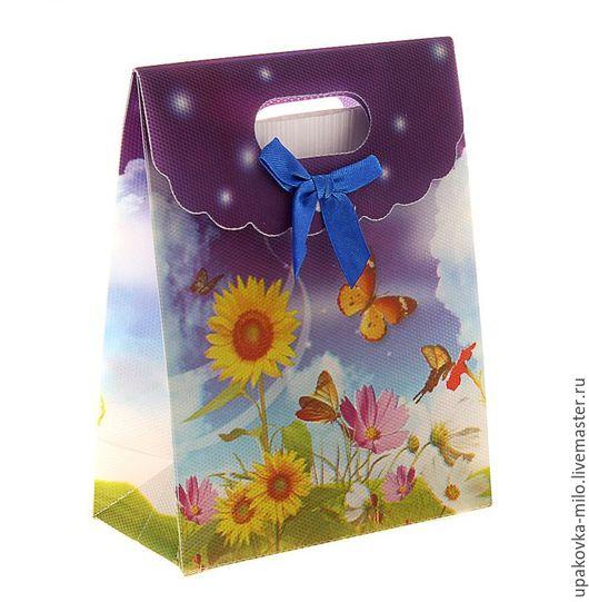 """Упаковка ручной работы. Ярмарка Мастеров - ручная работа. Купить Пакет с клапаном пластиковый """"Подсолнухи"""", синий бант. Handmade. Комбинированный"""