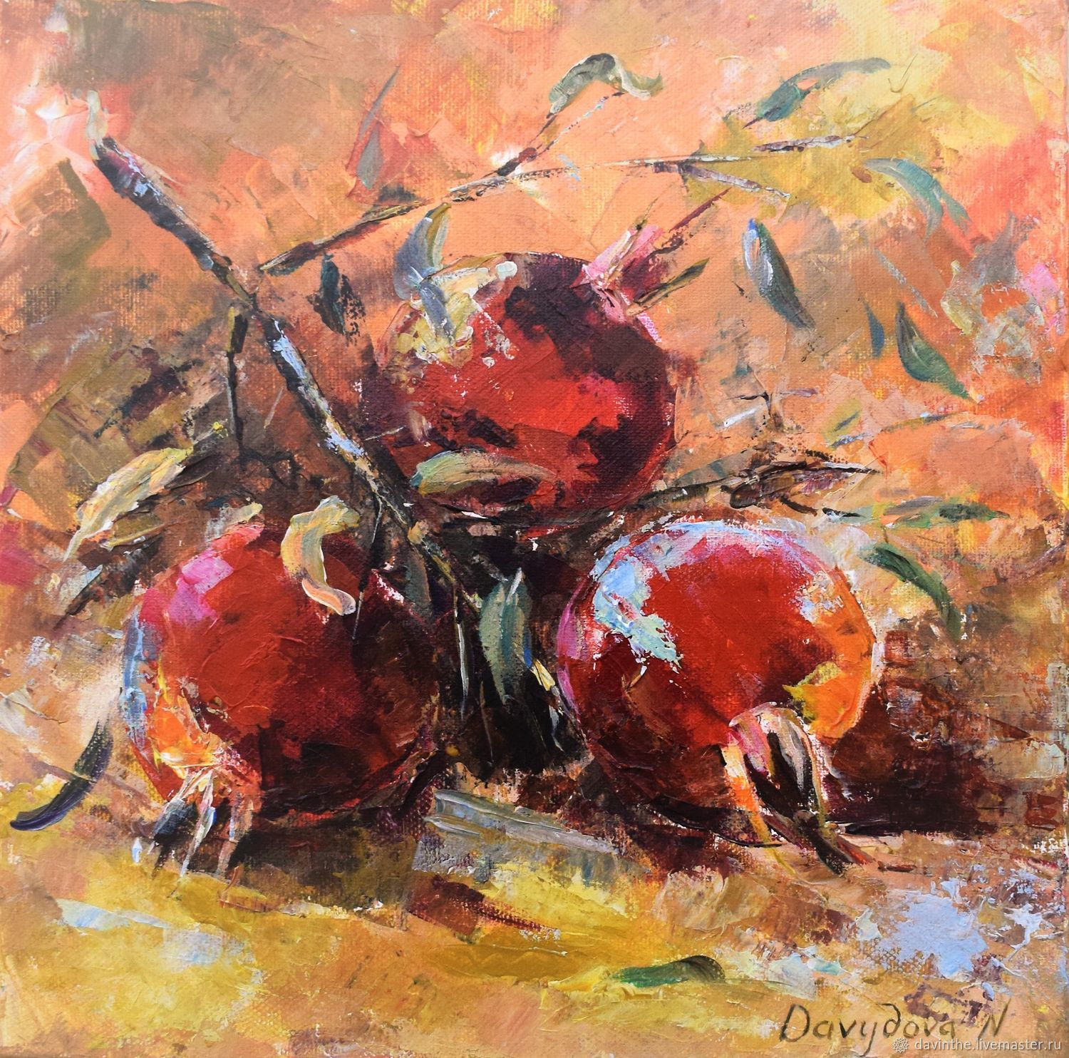 Grenades-Original painting -Still life-Greek art-red grenades, Pictures, Athens,  Фото №1