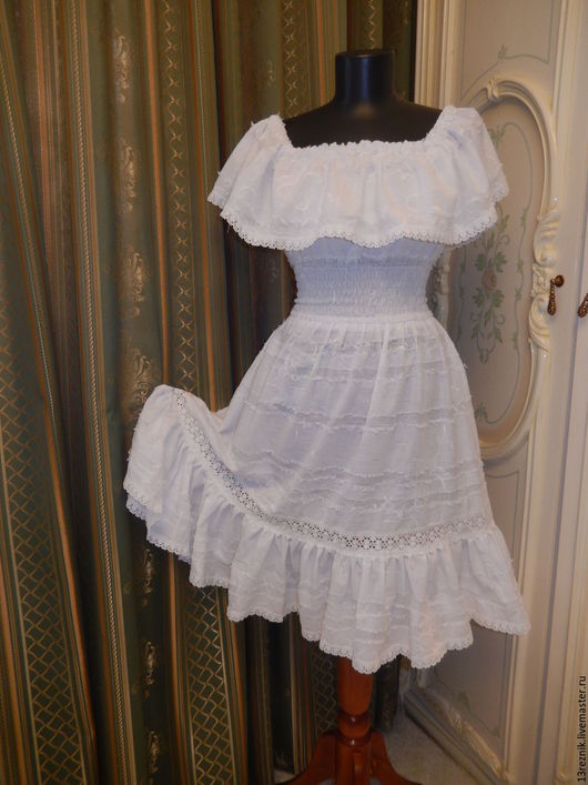 Платья ручной работы. Ярмарка Мастеров - ручная работа. Купить Платье на лето. Handmade. Белый, Синее платье, платье коктейльное