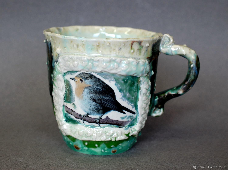 Birdie nuthatch. Mug handmade, Mugs and cups, Moscow,  Фото №1