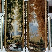 Картины и панно ручной работы. Ярмарка Мастеров - ручная работа Картина гобелен Зеленый, Осенний лес  60х22 см в рамке. Handmade.