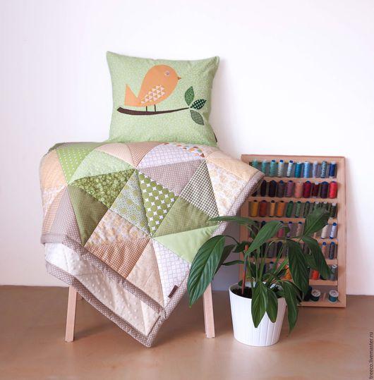 Текстиль, ковры ручной работы. Ярмарка Мастеров - ручная работа. Купить Лоскутное одеяло с подушкой. Handmade. Лимонный, лоскутный плед
