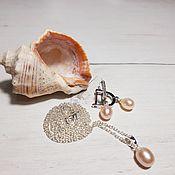 Украшения handmade. Livemaster - original item Pendant earrings with peach pearls in silver.. Handmade.