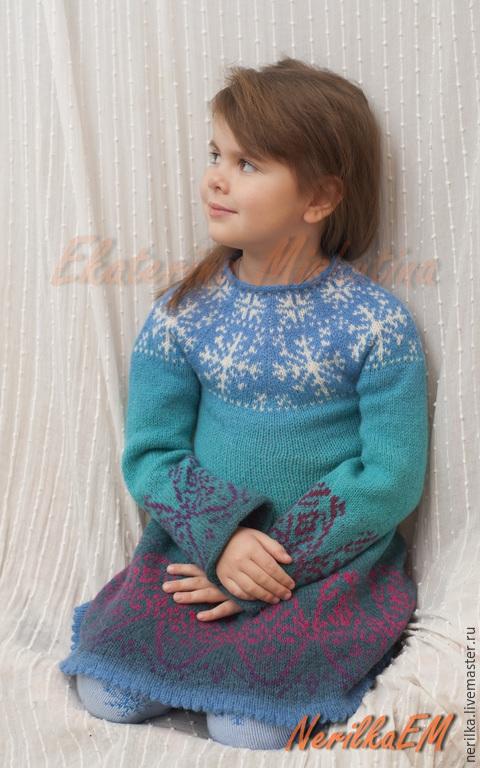 """Одежда для девочек, ручной работы. Ярмарка Мастеров - ручная работа. Купить Платье """"Принцесса льда"""". Handmade. Разноцветный, платье вязаное"""