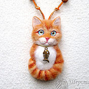 Украшения handmade. Livemaster - original item Brooch pendant Cat made of wool orange cat, Cat portrait kitten. Handmade.
