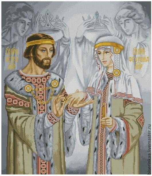 Схема вышивки бисером `Пётр и Февронья` с полной зашивкой
