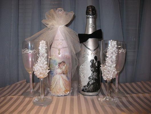 Подарочное оформление бутылок ручной работы. Ярмарка Мастеров - ручная работа. Купить свадебное шампанское. Handmade. Подарочное шампанское, акрил