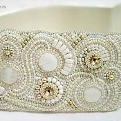 Аксессуары handmade. Livemaster - original item White wide elastic belt bead embroidery pearl Swarovski. Handmade.