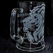 Посуда handmade. Livemaster - original item The king of beasts. Beer mug. Handmade.
