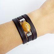 Фен-шуй и эзотерика handmade. Livemaster - original item Leather bracelet Sun autumn evening Chocolate ochre. Handmade.
