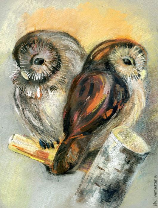 """Животные ручной работы. Ярмарка Мастеров - ручная работа. Купить Картина """"Птенцы"""". Handmade. Сова, совята, птенец, пара"""