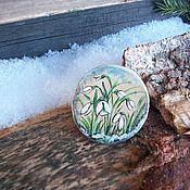 Украшения handmade. Livemaster - original item Wooden brooch with painted... snowdrops... spring.... Handmade.