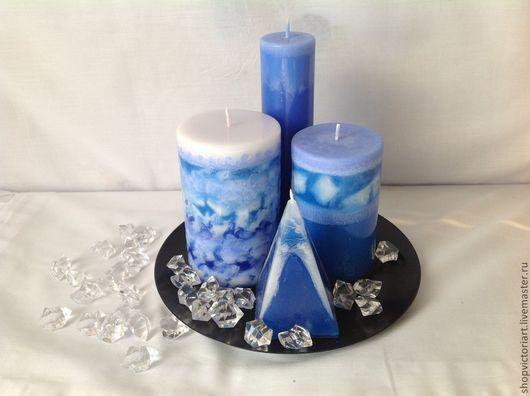 """Свечи ручной работы. Ярмарка Мастеров - ручная работа. Купить Свечи ручной работы """"Голубые дали"""" набор. Handmade. Голубой"""