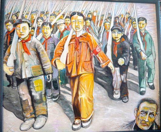Люди, ручной работы. Ярмарка Мастеров - ручная работа. Купить картина  Воспоминания хунвейбина. Handmade. Серый, китай, авторская работа