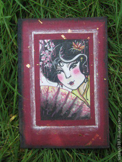 """Открытки для женщин, ручной работы. Ярмарка Мастеров - ручная работа. Купить Авторская открытка""""Гейша"""". Handmade. Авторская открытка, единственный экземпляр"""