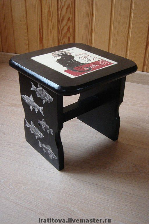 """Мебель ручной работы. Ярмарка Мастеров - ручная работа. Купить Табурет """"Черная кошка"""". Handmade. Деревянная мебель, подарок рыбаку"""