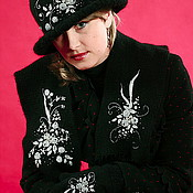 """Аксессуары ручной работы. Ярмарка Мастеров - ручная работа Комплект """" Серебряная ночь"""" перчатки , шарф, шляпа. Handmade."""
