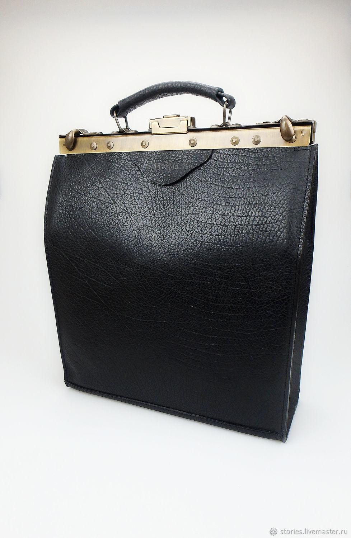 Саквояж кожаный Osсar Black, Офисная сумка, Кожаная сумка черная, Сумки, Дубна, Фото №1