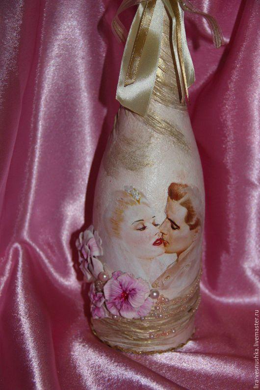Свадебные аксессуары ручной работы. Ярмарка Мастеров - ручная работа. Купить Декорированная бутылка  для свадьбы. Handmade. Бежевый, свадебные украшения
