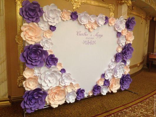 Свадебные цветы ручной работы. Ярмарка Мастеров - ручная работа. Купить Прес-волл разноцветный из бумажных цветов (аренда). Handmade.