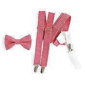 Подарки к праздникам handmade. Livemaster - original item Set bow tie and suspenders red in small cell. Handmade.