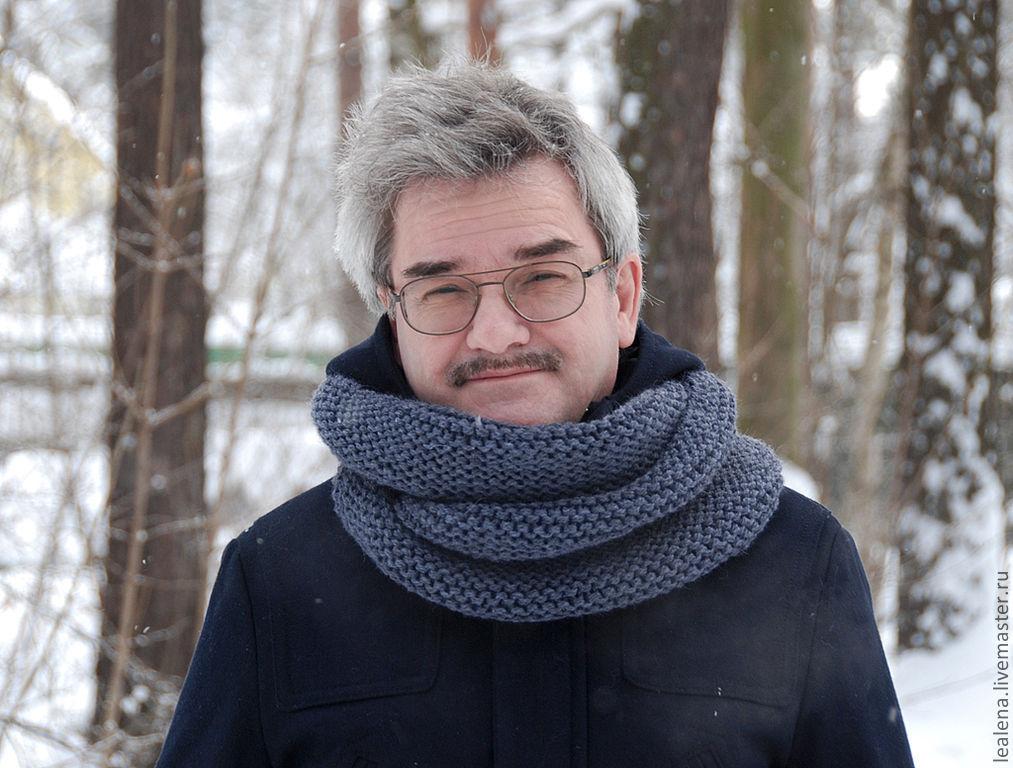 Мужской шарф-снуд темно-серый (полушерсть), Шарфы, Раменское,  Фото №1