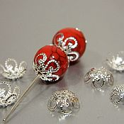 Материалы для творчества handmade. Livemaster - original item Caps for beads, silver color, 10 mm. (44) 10 PCs. Handmade.