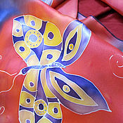 """Аксессуары ручной работы. Ярмарка Мастеров - ручная работа Палантин батик """"Желтые бабочки"""". Handmade."""