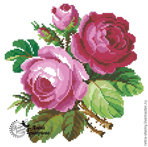Розы схемы вышивки розовые