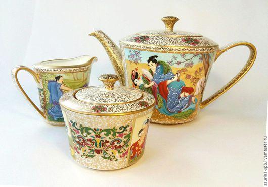 Сервизы, чайные пары ручной работы. Ярмарка Мастеров - ручная работа. Купить Сервиз чайный по мотивам восточных гравюр. Handmade.