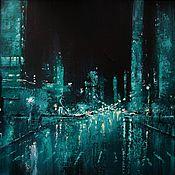 Картины и панно handmade. Livemaster - original item 16x16` Oil Painting. Glass City. Handmade.