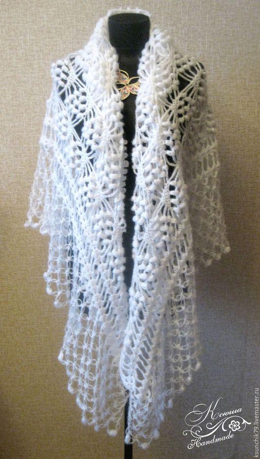 Шаль, Шаль вязаная, Белая шаль, Шаль вязаная крючком, шаль ажурная,купить шаль белую, Шаль ручной работы, Handmade.