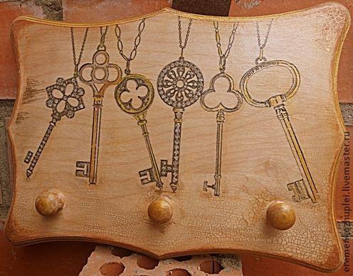 """Прихожая ручной работы. Ярмарка Мастеров - ручная работа. Купить Ключница """"Ключики"""". Handmade. Ключница ручной работы, состаренный стиль"""