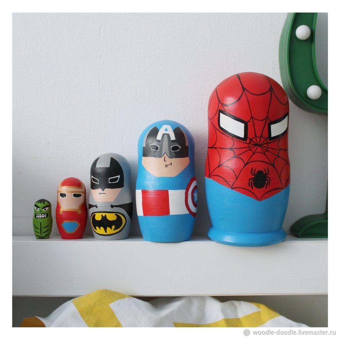 Матрешка на 5 мест,14 см MARVEL Супергерои / Человек паук / Бетмен, Игрушки, Тюмень, Фото №1
