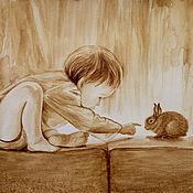 """Картины и панно ручной работы. Ярмарка Мастеров - ручная работа Кофейный рисунок """"Мальчик и зайчик"""" по фото Е.Шумиловой. Handmade."""