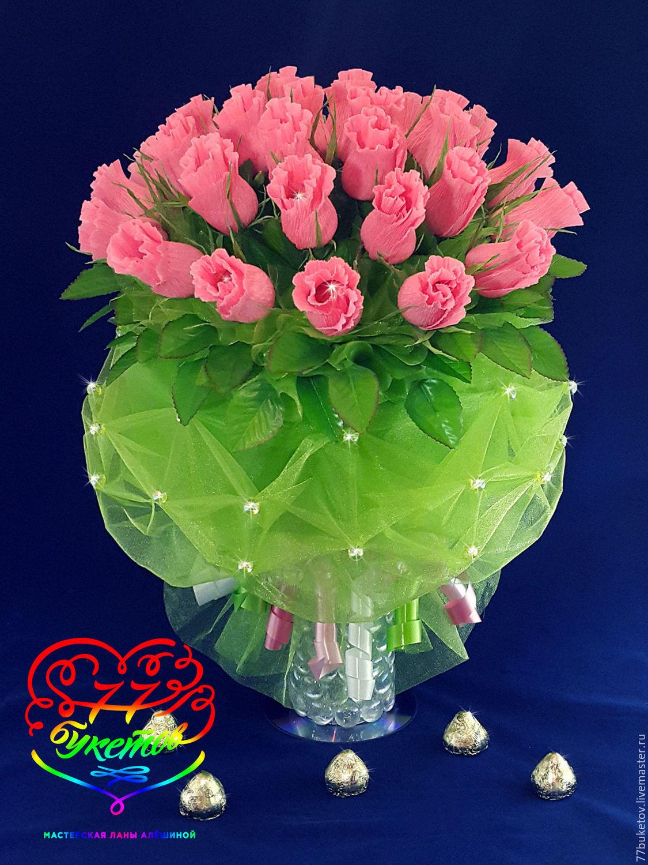 """Купить Букет из конфет """"Розовые бутоны"""" - коралловый, букет из конфет, розы из конфет, сладкий подарок"""