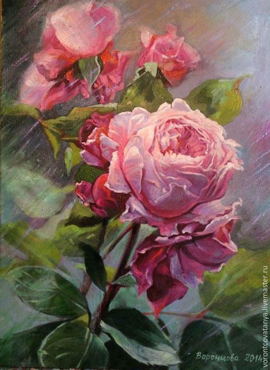 """Картины цветов ручной работы. Ярмарка Мастеров - ручная работа. Купить """"Расцвела"""". Handmade. Розовый, роза, картина, картина для интерьера"""