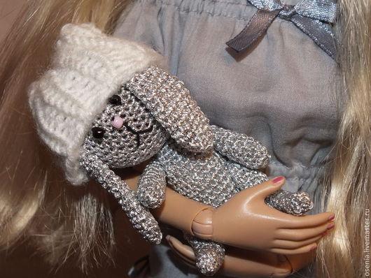 Миниатюра ручной работы. Ярмарка Мастеров - ручная работа. Купить Зайчик для куклы. Handmade. Серебряный, кукла, амигуруми, синтепон