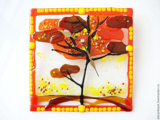 """Часы для дома ручной работы. Ярмарка Мастеров - ручная работа. Купить Часы фьюзинг """"Африка"""". Handmade. Оранжевый, африканский стиль"""