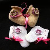 """Работы для детей, ручной работы. Ярмарка Мастеров - ручная работа пинетки из шерсти """"Маленькая принцесса"""". Handmade."""