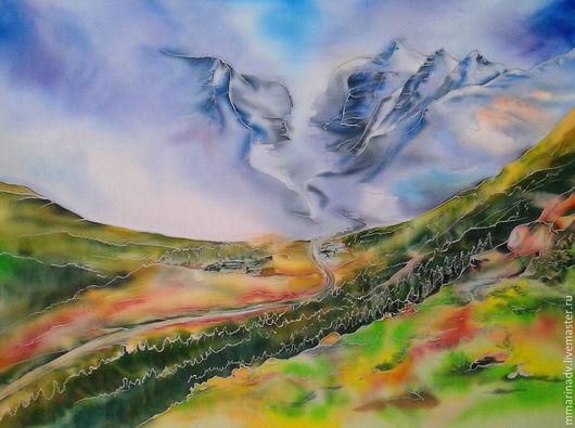 Батик картина `Дорога в неизведанное`, шелк 100%, 45-30 см.. Авторский батик Марины Маховской.