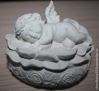 """Развивающие игрушки ручной работы. Ярмарка Мастеров - ручная работа. Купить Гипсовая фигурка """"Спящий ангел"""". Handmade. Белый"""