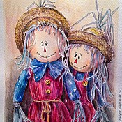 """Картины и панно ручной работы. Ярмарка Мастеров - ручная работа Акварель. """"Счастливая парочка"""". Handmade."""