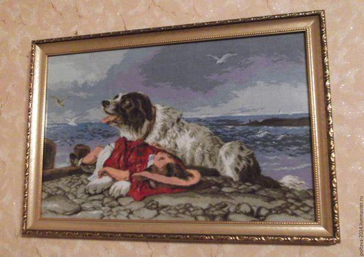 """Пейзаж ручной работы. Ярмарка Мастеров - ручная работа. Купить Вышитая картина """"Собака спасатель"""". Handmade. Морская тема, море"""