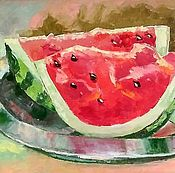 Картины и панно handmade. Livemaster - original item Painting Watermelon Watermelon slices still life oil on canvas. Handmade.