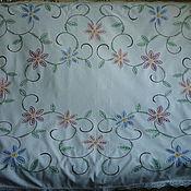 Предметы интерьера винтажные ручной работы. Ярмарка Мастеров - ручная работа Скатерть 155х117 Цветочная, вышитая. Handmade.