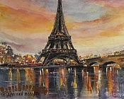Картины и панно handmade. Livemaster - original item Watercolour painting EVENING in PARIS. Fantasy on the theme.. Handmade.