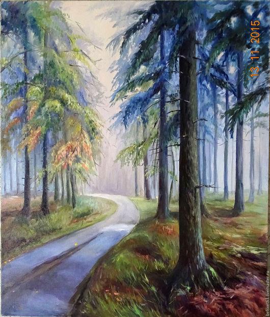 Пейзаж ручной работы. Ярмарка Мастеров - ручная работа. Купить Утренняя дорога в осень. Handmade. Комбинированный, картина на холсте
