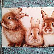 Картины и панно handmade. Livemaster - original item Oil painting with red rabbits. Handmade.