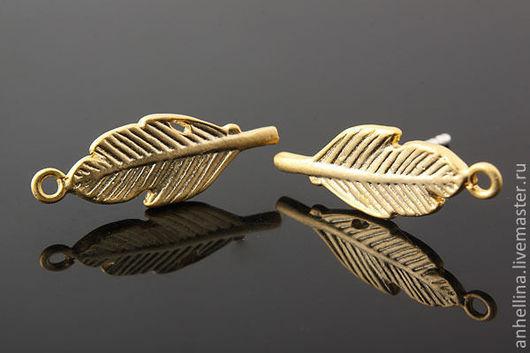 """Для украшений ручной работы. Ярмарка Мастеров - ручная работа. Купить Пуссеты """"Лист"""" (gold plated) Размер: 6 х 17 мм. Handmade."""